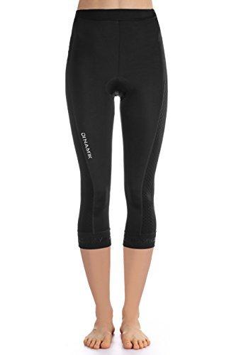 Dinamik Womens Cycling 3/4 Bike Tights Light Leggings Extra Padded Half Pants EVO PRO (Large, Black) by Dinamik