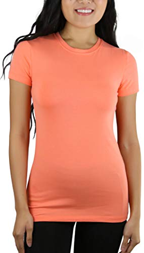 ToBeInStyle Women's Slim Fit Crew Neck S.S. Longline Tee - Deep Coral - Small