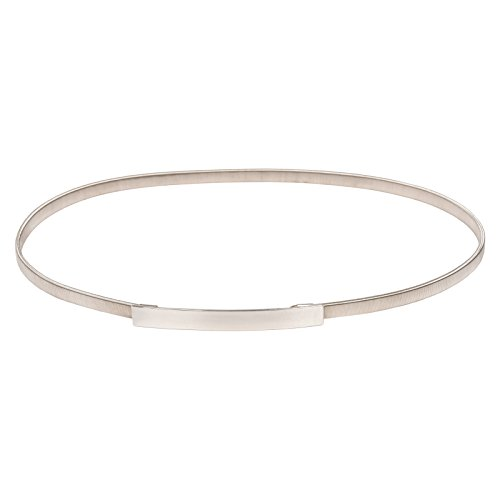 Stretchy Dress Belt for Women Silver Skinny Belt Size XL Silver CL633 (Belt Skinny Silver)