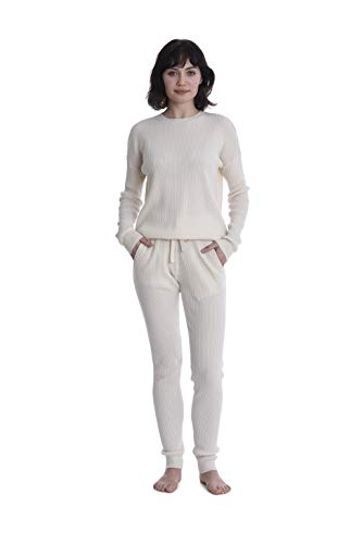 - Cashmeren Women's 100% Pure Cashmere Knitted Loungewear Pants (Ivory, Small)