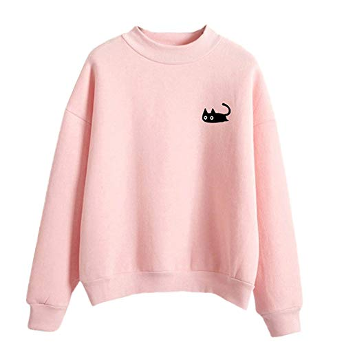 FimKaul Women Graphic Cute Cat Sweaters Funny Solid Color Pullover Tops Teen Girls Sweatshirts(Pink,L) -