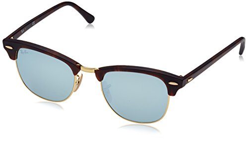 Ray-Ban RB3016 Clubmaster Square Sunglasses, Tortoise & Gold/Silver Flash, 51 mm
