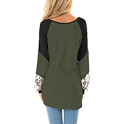 Yanekop Womens Color Block Pullover Leopard Print Sweatshirt Raglan Long Sleeve Loose Tunic Shirts Tops at Women's Clothing store