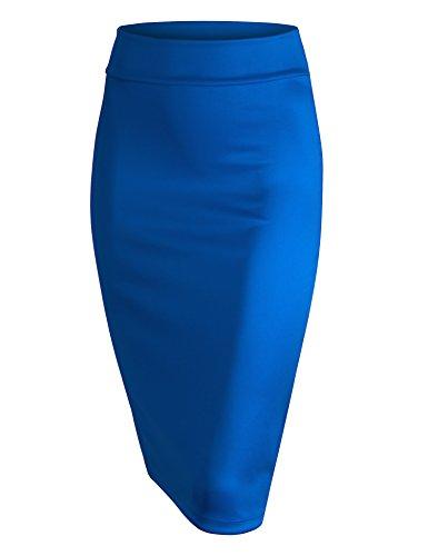 Blue Suit Skirt - MBJ WB700 Womens Scuba Midi Skirt XXL Royal_Brite