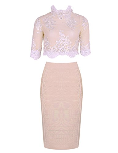 Skirt Piece Evening Set and Dress Nude Bandage Bodycon 2 Women Maketina Lace Top 1YOxHO