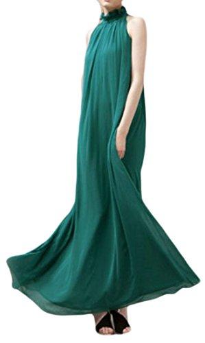 Cromoncent Beach Pleated Green Dress Women's Sleeveless Solid Chiffon Swing YY7rPq