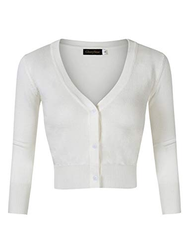 GloryStar Women's Casual 3/4 Sleeve Button Down Open Front Knit Cropped Cardigan Sweater Ivory M ()