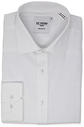 Ben Sherman Men's Long Sleeve Sateen Stripe Kings Formal Shirt, Bright White, 37