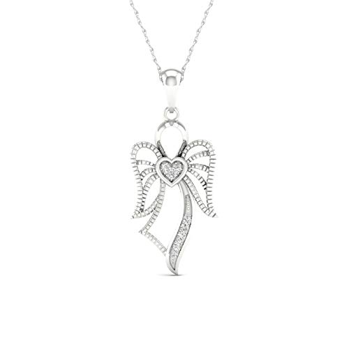 10K White Gold Diamond Angel Pendant Necklace 18inch(0.02 ct / I2,H-I)