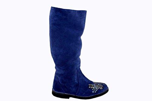 Delacroix Stiefel Shoe Lammfell Winterstiefel Damenstiefel 5821 blau