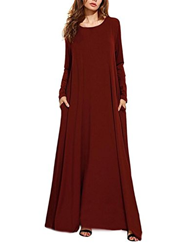 Kidsform Women Maxi Dress Long Sleeve Casual Loose Kaftan Party Long Dresses with Pockets Wine Red 3XL