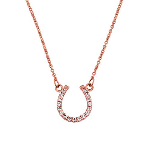 Jewelry Horseshoe Diamond (Fine 14k Rose Gold Lucky Horseshoe Charm with Diamond Necklace, 16