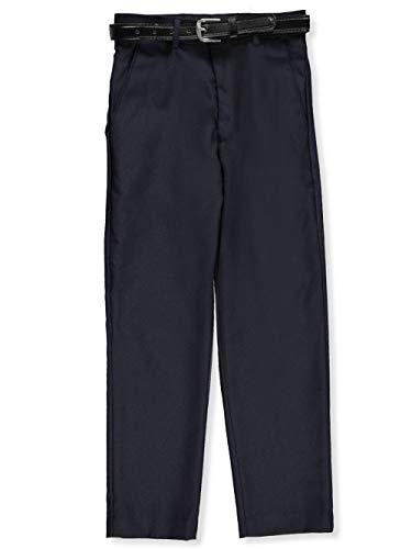 (Alberto Danelli Big Boys' Skinny Belted Flat Front Dress Pants - Navy, 12)