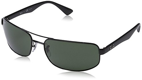 Ray-Ban Men's Rb3445 Polarized Rectangular Sunglasses, Black, 64 - Rb3445 Polarized