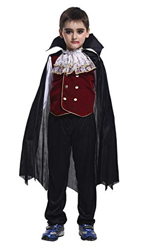 stylesilove Kid Boys Halloween Costume Party Cosplay Outfit Themed Party Birthdays Party (Noble Vampire, XL/10-12)