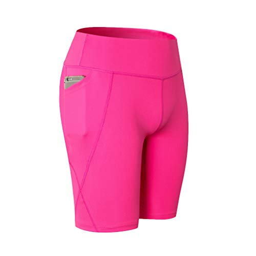 Womens High Waist Out Pocket Yoga Short,Workout Running Elastic Tummy Control Athletic Breathable Sport Shorts Hot Pink -
