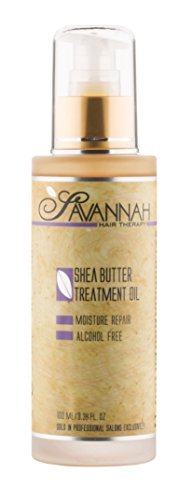 Savannah Hair Therapy Treatment Oil - Shea Butter, Cotton and Silk Protein and Vitamin B6 - For Dry and Damaged Hair. Sodium Chloride and Sulfate Free. 3.38 oz from Savannah Hair Therapy