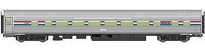 85' Budd Large-Window Coach - Ready to Run -- Amtrak (Phase III; silver, Equal red, white, blue Stripes)