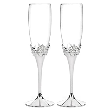 Hortense B. Hewitt Disney Fairy Tale Weddings Happily Ever After Toasting Flutes, 9.5-Inch, Set of 2