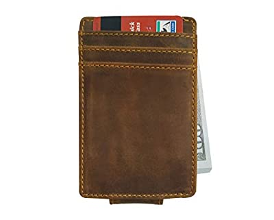 Gooond Slim Leather Rfid Wallets for Man -Minimalist Front Pocket Wallet with Money Clip-Nice Small Credit Card Wallet Brown