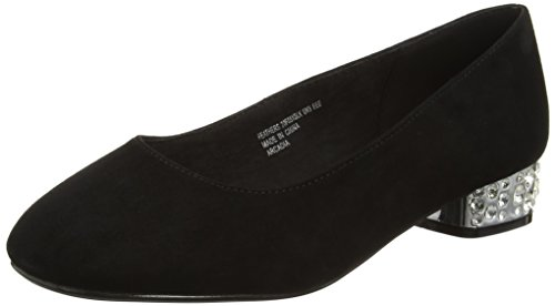 Evans Damen Extra Wide Diamante Pumps Schwarz (Schwarz)