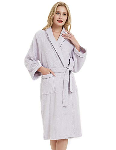 SANLI Terry Cotton Cloth Kimono Bathrobe, Soft, Thick, Knee Length Short, Bath Shower Spa Robes for Women S Light Purple