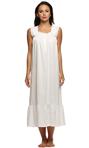 - L'amore Cotton Nightgown Women's Lace Trim Long Gowns Nightwear (White, Medium)
