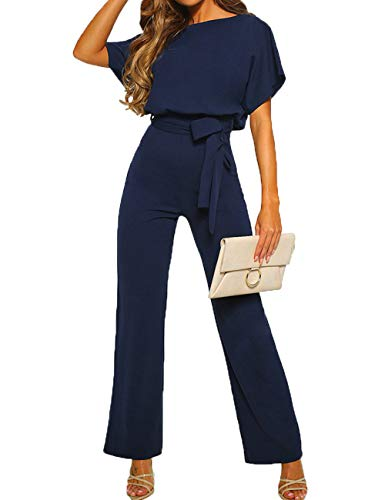 ALAIX Women's Elegant Short Sleeve Jumpsuit Loose Wide Leg Long Pants Rompers Overall with Waistband Darkblue-L (Suits Jump Petite)