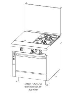 Open Range Burner Gas Convection (Southbend P32A-XC Platinum Heavy Duty 32