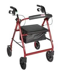 Aluminum Rollator Rolling Walker with Medical Curved Back Soft Seat Light Weight ()