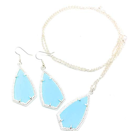 - Inspired Fashion Jewelry Tiffany Blue Kite Necklace and Earring Set in Silver Tone