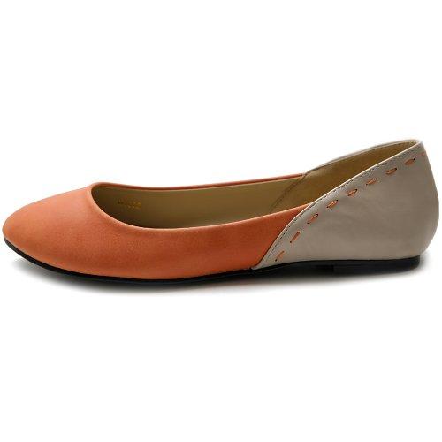 Ballet Heel Womens Ollio Cute Orange Patch Pastel Shoe Flat Color 7xIqaqEw
