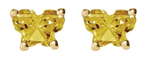 Girl's bfly 14k Yellow Gold Yellow Butterfly CZ November Birthstone Earrings, Threaded Backs by The Men's Jewelry Store (for KIDS)
