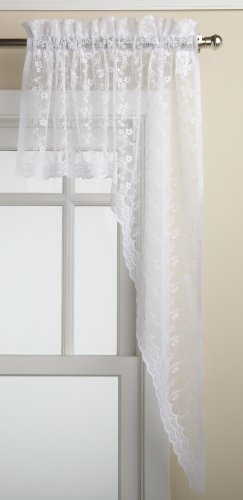 Swag Lace Valance - LORRAINE HOME FASHIONS Priscilla 60-inch x 38-inch Swag Pair, White