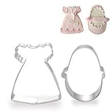 FMY 2 Pieces Set of Baby Girl's Dress and Shoe Shape Cookie Cutters Fruit Cut Molds Stainless Steel