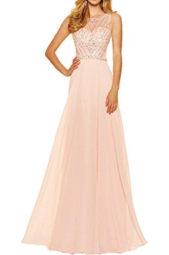 Steine Linie Perlenrosa Lang Partykleid Ivydressing Damen A amp;Tuell Abendkleid Chiffon Traumhaft Promkleid P617E