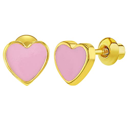 18k Gold Plated Pink Enamel Heart Girls Toddlers Screw Back Earrings