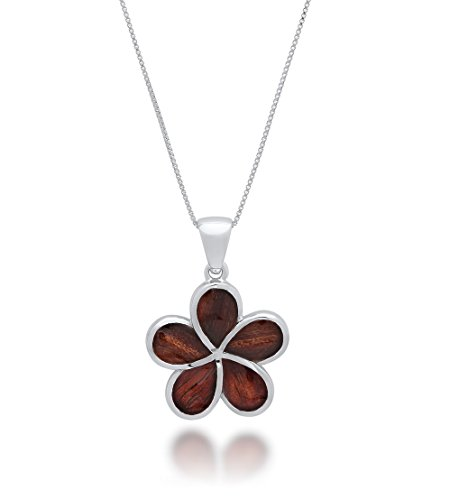 Koa Plumeria Pendant (Sterling Silver Hawaiian Koa Wood Large Plumeria Pendant Necklace)