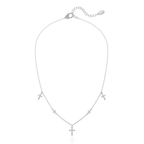 (ZAXIE Cross My Heart Crystal Cross Charm Necklace in Rhodium)
