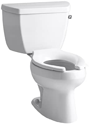 Kohler K-3505-TR-0 Wellworth Classic Pressure Lite Elongated 1.4 gpf Toilet with Tank Cover Locks and Right-Hand Trip Lever, Less Seat, White
