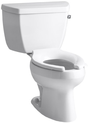 Kohler K-3505-RA-0 Wellworth Classic Pressure Lite Elongated 1.4 gpf Toilet with Right-Hand Trip Lever, Less Seat, White (Toilet Wellworth Two Piece)