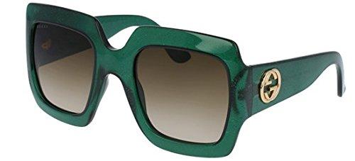 Gucci 0053 005 Green Brown Glitter GG0053S Sunglasses