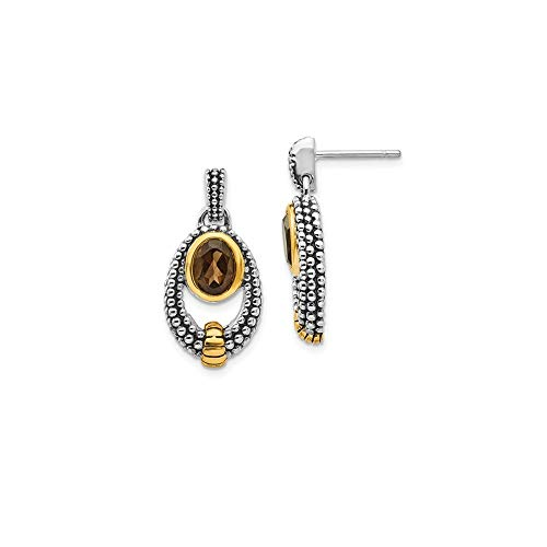 - 925 Sterling Silver with gold-Tone Flash Gold-Plated Simulated Smoky Quartz Earrings (23mm x 12mm)