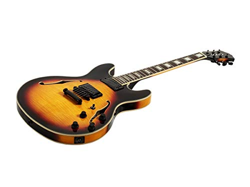 Monoprice Electric Guitar – Sunburst with Gig Bag, Flamed Maple, Hollowbody – Indio Boardwalk