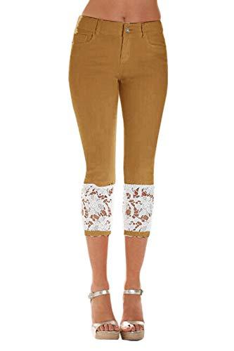 Zilcremo Mujeres Legging Denim Pantalones Skinny Pantalones Cosechados Brown