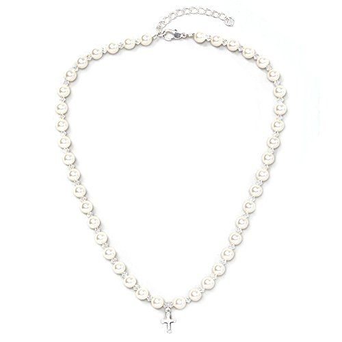 - Christening Sterling Silver Child Necklace with Cross Charm and White Swarovski Simulated Pearls and Crystals (NCRSE)