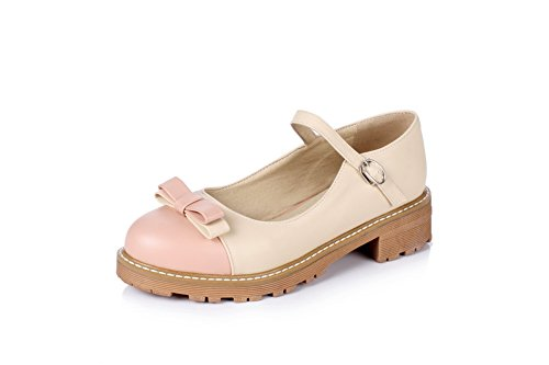 Urethane Bows Heels Womens Pumps Pink Platform Shoes Buckle Square BalaMasa gRYZx7qw7