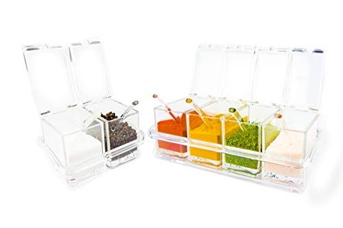 Four Section (Six Compartment Condiment & Spice Box Serving Set with Spoons - 2 & 4 Section Seasoning Storage Container Rack Combo Set with Removable Cruet Jars (6 oz capacity each) | by ImpiriLux)