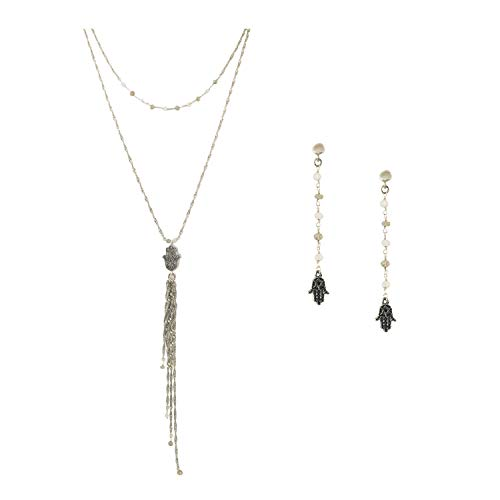 """Silver Plated Double Chain Link with Grey Moonstone and Hamsa Hand Tassel Pendant Necklace (24"""") and Matching Earrings Set"""