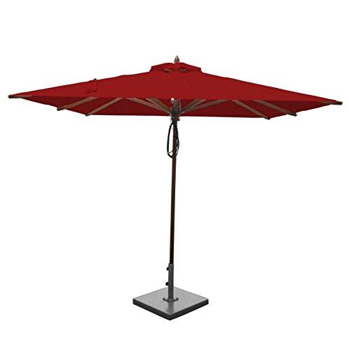 Greencorner Mahogany Square Patio Umbrella 8 Foot, Jockey Red